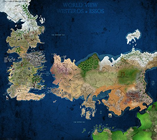 Amazoncom Game Of Thrones Antique Map Westeros Essos HBO - Faded poster maps for sale us