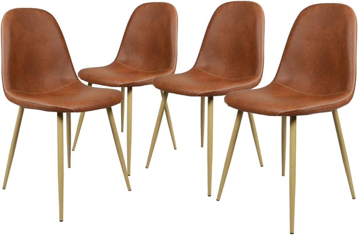 Homy Casa Silla de Comedor Vintage Juego de 4 sillas de Cocina de Cuero PU Impermeables con Respaldo Suave Asiento Simple Instalación Vintage Silla de Comedor de Estilo Decorativo Café marrón