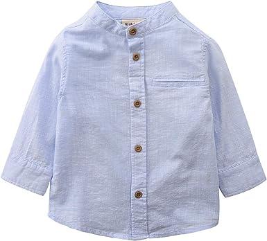 Boys Striped Shirt Kids Long Sleeved Party Shirts Top Cotton Mandarin Collar