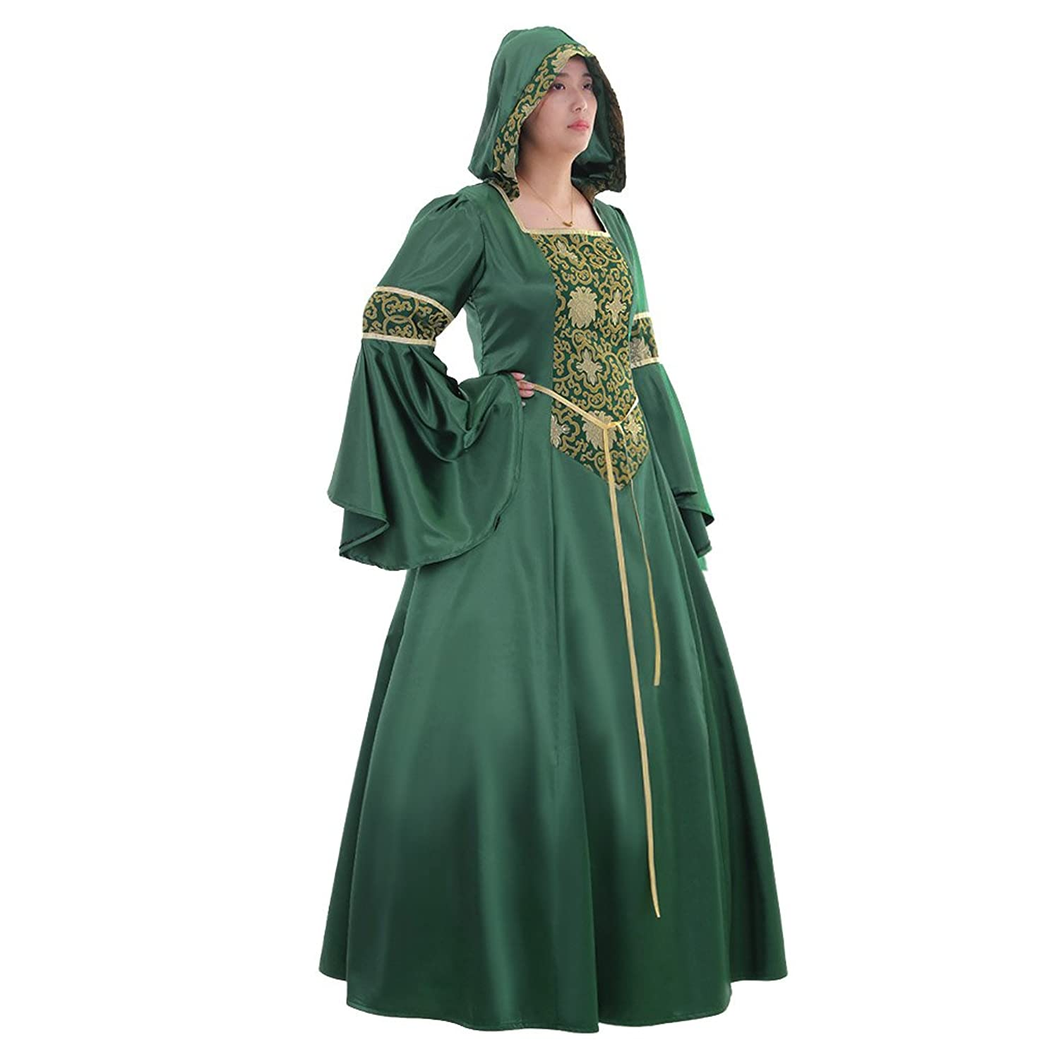 PLUS DELUXE MEDIEVAL//LARP LADY Green /& Gold fancy dress outfit sizes 8