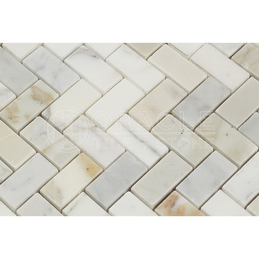 Calacatta Gold (Italian Calcutta) Marble 1 X 2 Herringbone Mosaic ...