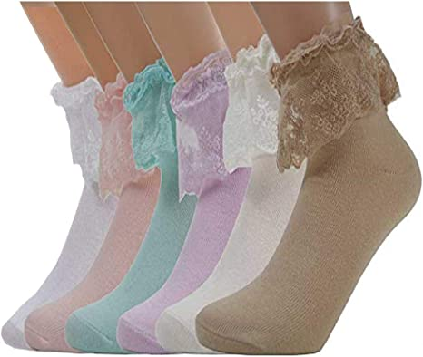 6 Pairs Girls kids White Cotton Lace Ankle Socks School Frilly All Sizes