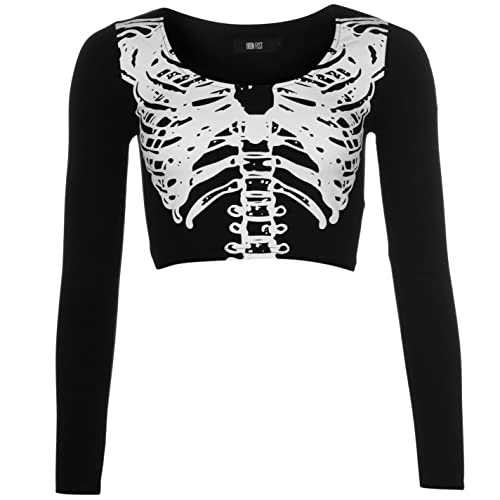 Iron Fist Mujer Wishbone Off Shoulder Top Senoras Cuello Redondo Mangas Largas Wishbone 8 (XS)