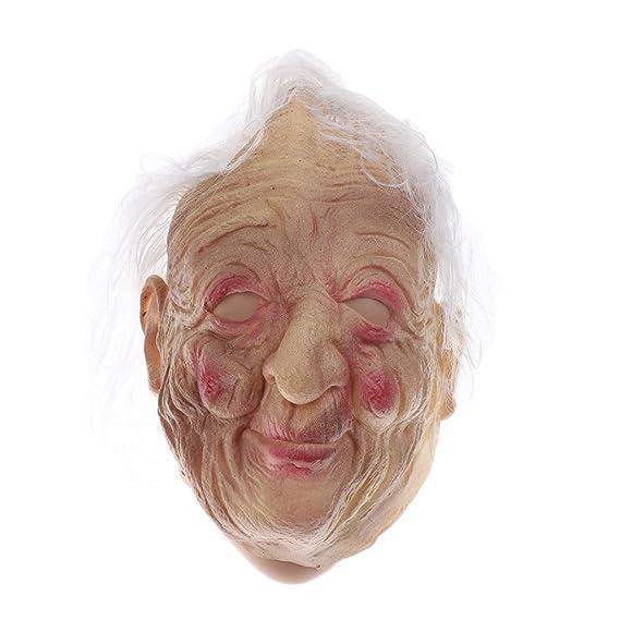 Homyl Máscaras de Caras Mujer Viejo Abuelo Parte de Delante Traje Cara de Bruja de Látex Peluca de Pelo Blanco: Amazon.es: Juguetes y juegos