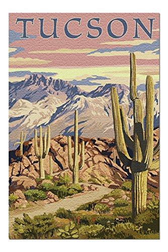 Tucson, Arizona - Desert Cactus Trail Scene at Sunset (20x30 Premium 1000 Piece Jigsaw Puzzle, Made in USA!) (Best Hikes In Tucson)