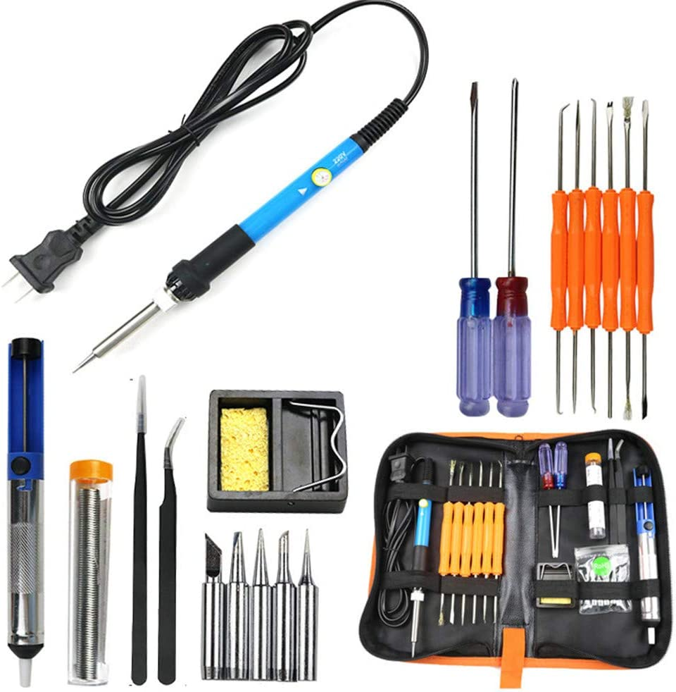 110V 60W Adjustable Electric Temperature Welding Soldering Iron Tool 8 In 1 Kit