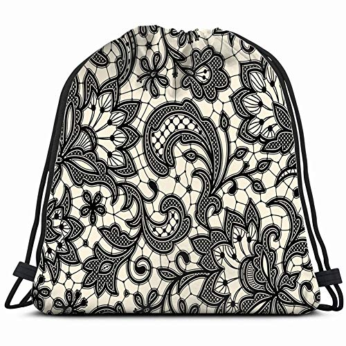 (black lace floral vintage Drawstring Backpack Gym Sack Lightweight Bag Water Resistant Gym Backpack for Women&Men for Sports,Travelling,Hiking,Camping,Shopping Yoga)