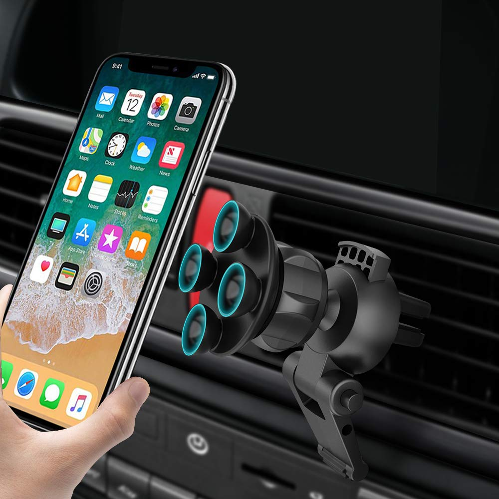 Car Phone Mount, Jabuer Car Mount Holder Universal Air Vent Cell Phone Mount with Four Suction Cups for iPhone Xs Xs Max X 8 8 Plus 7 Samsung Galaxy S9 S8 S7 S6 Edge, Lg G6, Note 8 5 and More