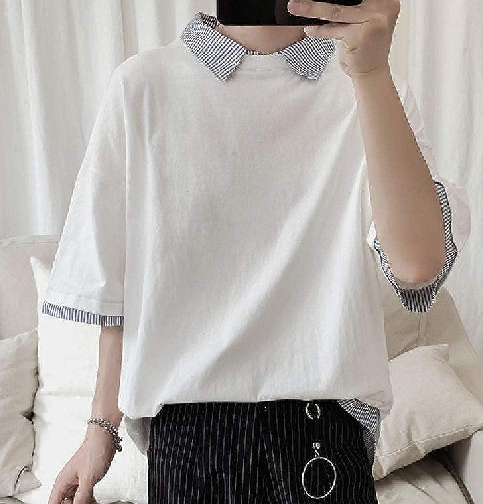 MirrliyMen Short Sleeve Loose Teenagers Fake Two Lapel Collar Tees