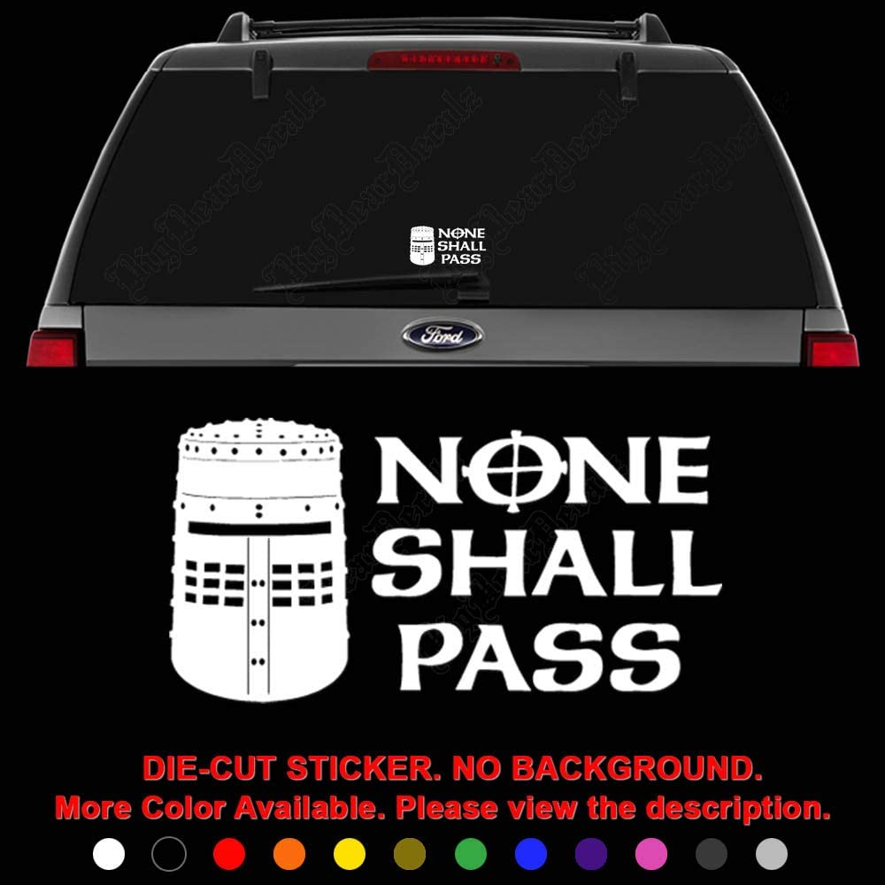 None Shall Pass Monty Python Knight Helmet Die Cut Vinyl Decal Sticker for Car Truck Motorcycle Vehicle Window Bumper Wall Decor Laptop Helmet Size- [20 inch] / [50 cm] Wide || Color- Gloss Black