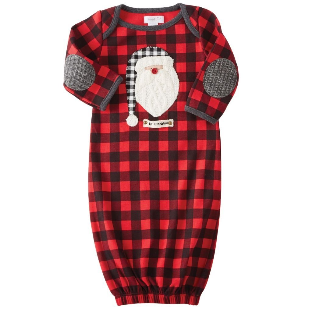 Mud Pie Mens Buffalo Check Santa Sleep Gown Infant