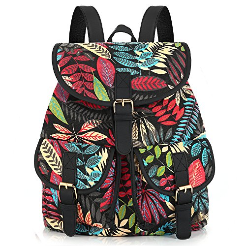 New Arrival Foliage Leaf Leaves Printing Canvas Backpack Mochila Escolar School Bags for Girls Bagpack Rugzak (Hurley Canvas Backpack)