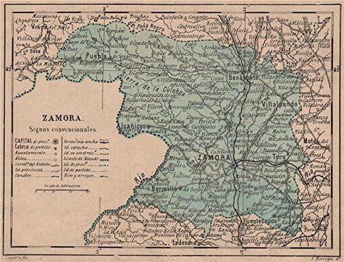 Amazon Com Zamora Castilla Y Leon Mapa Antiguo De La Provincia