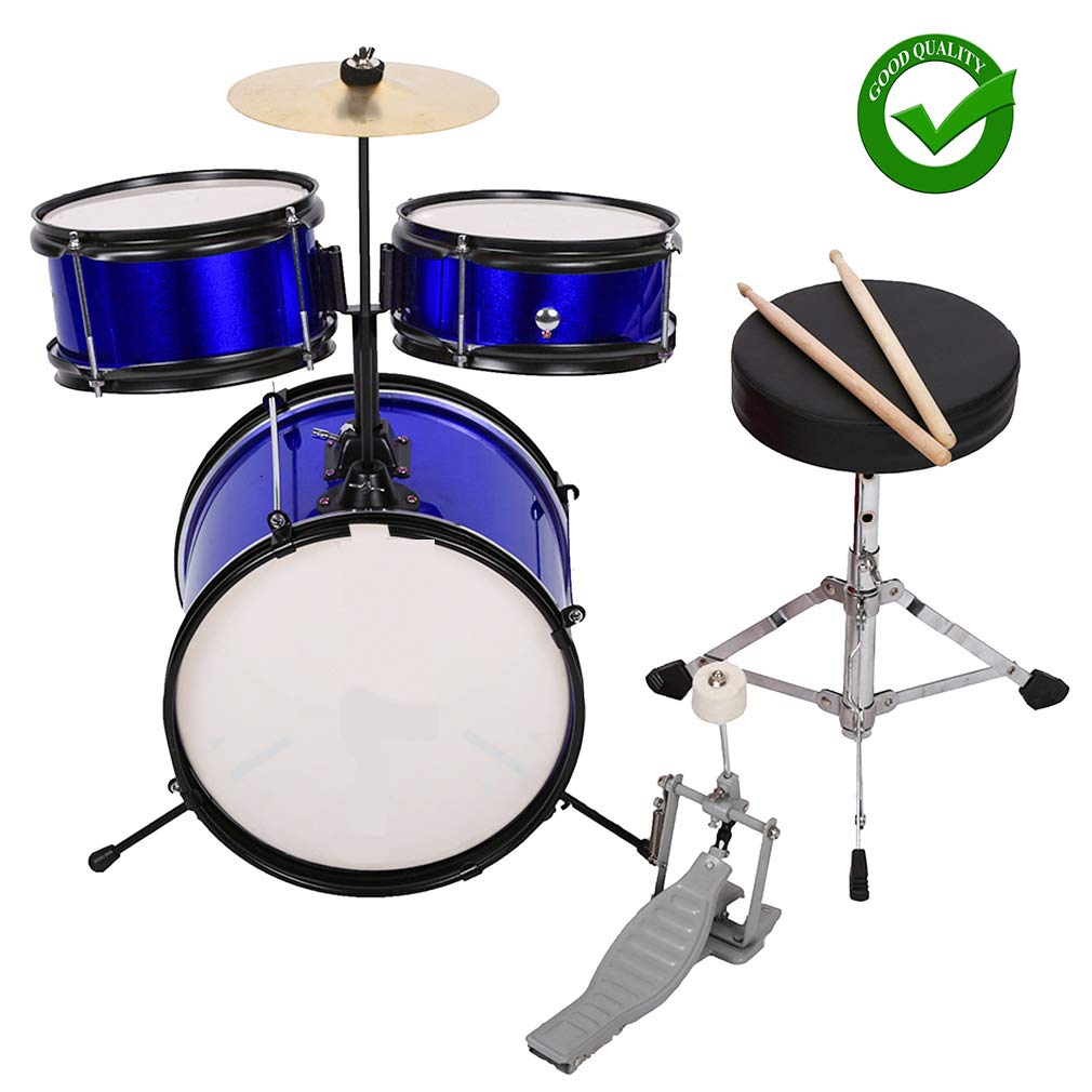 Drum Set Kids Children's Junior Beginner Drum Kit with Cymbals Stands Stool Sticks Metallic Blue,Metallic Royal Blue, 3-Piece Set BestMassage