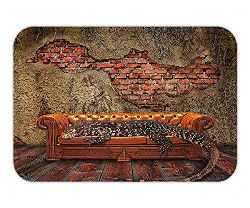Minicoso Doormat Fantasy Decor Decadence Grunge Ruin Brick Wall and a Giant Lizard on Sofa Surreal Art Vermilion Umber