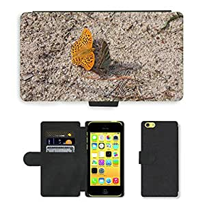 Hot Style Cell Phone Card Slot PU Leather Wallet Case // M00116988 Butterfly Nature Fauna Insect Wings // Apple iPhone 5C
