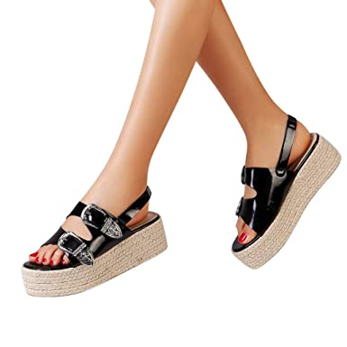 451f30071fcf Womens Espadrille Sandals Flat Platform Strappy Open Toe Ankle Strap with Buckle  Summer Shoes (Black