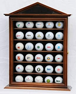 product image for flag connections 30 Golf Ball Designer Display Case Cabinet Holder Wall Rack -Walnut