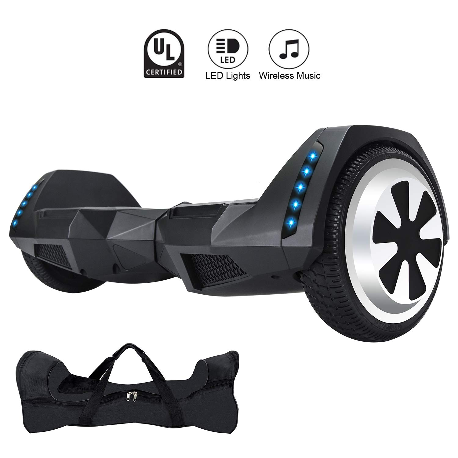 CXM2018 Bluetooth Enabled 6.5 inch Self Balancing Hoverboard with Built-in Wireless Speaker,250Watt Dual Motors and LED Side Lights for Kids and Adults,UL 2272 Certified Electric Scooter (Jade Black)