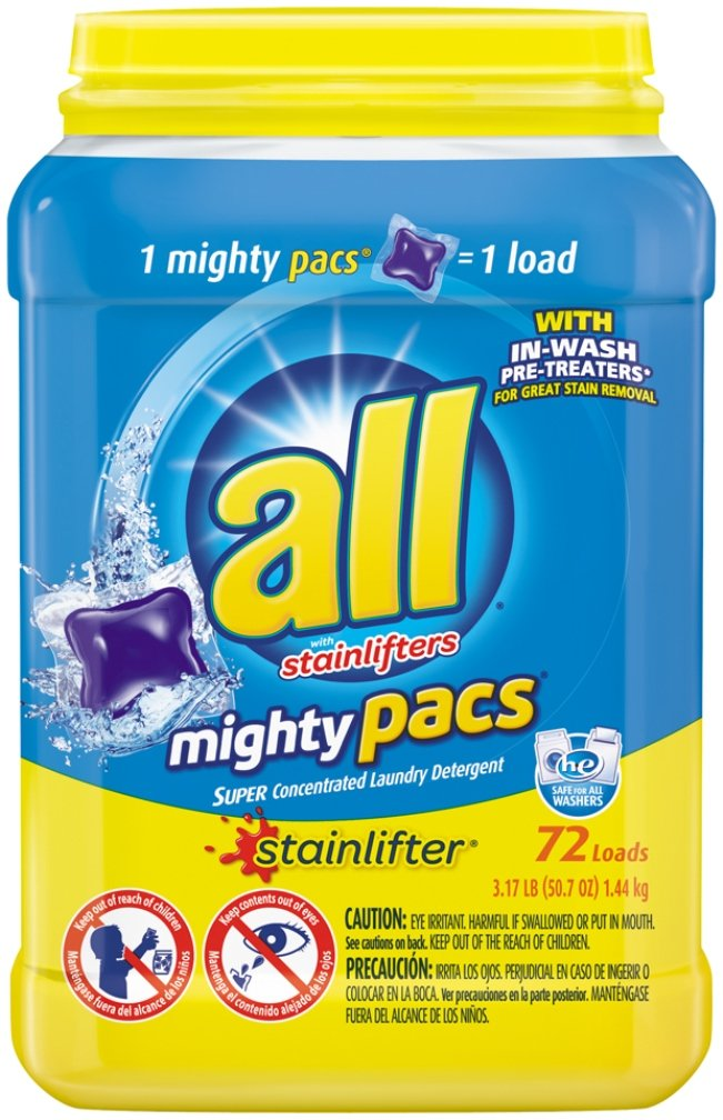 All Mighty Pacs Laundry Detergent, Stainlifter, Tub, 72 Count by all B00T411T7E