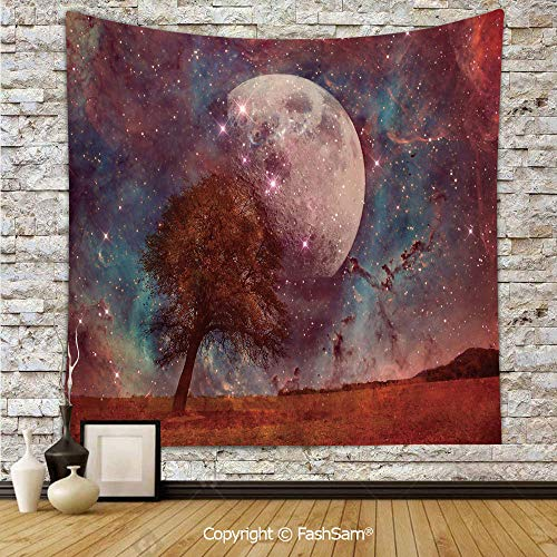 FashSam Polyester Tapestry Wall Red Alien Planet Landscape in Outer Space with Moon View Nebula Cosmos Image Decorative Hanging Printed Home Decor(W39xL59) -
