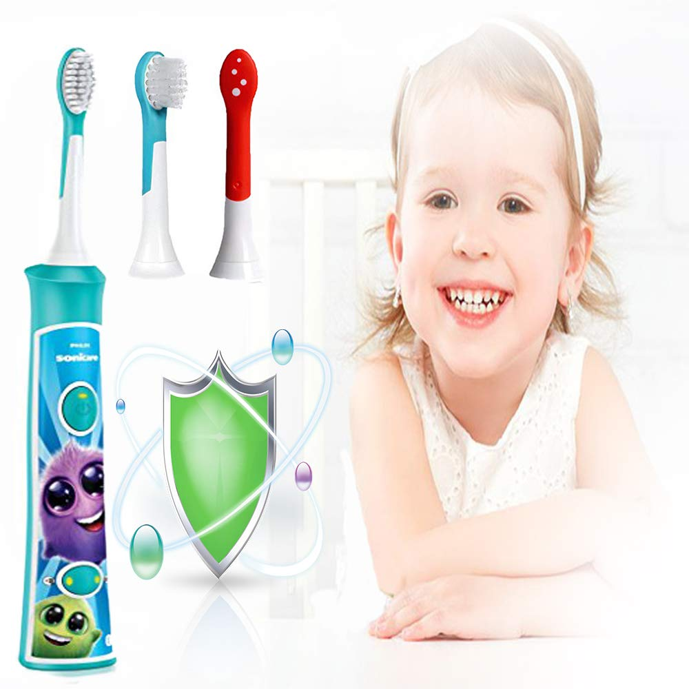 4 PACK Brush Heads Replacement HX-6044 for Kids Philips Sonicare Electric Sonic Toothbrush Handle, fit All Snap on Plague Control Gum Health DiamondClean FlexCare HealthyWhite & EasyClean