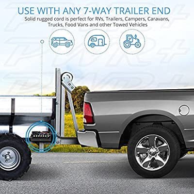 PWR+ 7-Way Trailer Plug Connector Cord 7-Pin: Extra Long 10 Ft, Heavy Duty, Weatherproof, Corrosion Resistant, Double Prongs, RV 7 Pin Wire Inline Light Trailer Wiring Harness Cable: Automotive