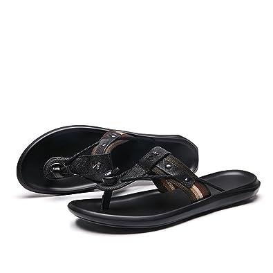 9ca2e780b6a2 Herren Slipper Slide Sandalen Thong Echtes Leder   Stoff Oberen Metall  Verzierten Dekor,für Männer