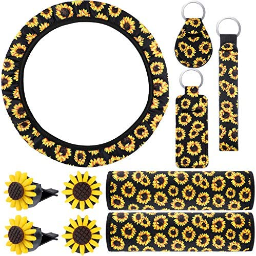 10 Pieces Universal Sunflower Car Accessories Set Include Sunflower Steering Wheel Cover, Cute Sunflowers Keyring, Car Vent Clips and Seat Belt Shoulder Pads (Black Background)