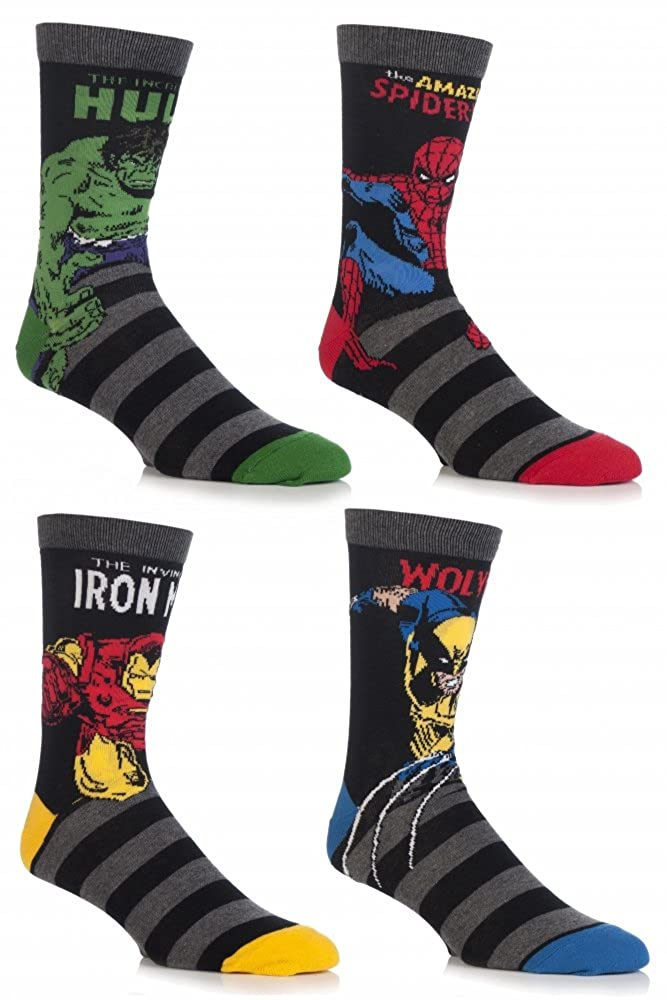 SockShop Men's 4 Pair Marvel Comics Mix Hulk, Spider-Man, Ironman & Wolverine Socks