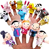 Finger Puppet Set Finger Puppets Educational Toy 10 Animals + 6 People Family Members
