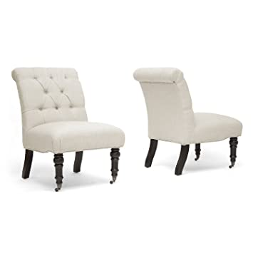 baxton studio belden linen modern slipper chair beige set of 2