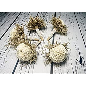 Set of 5 Small Rustic Wedding Bridesmaids Bouquets Made of Ivory Flowers Dried Limonium Burlap Lace and Pearl Pins 77