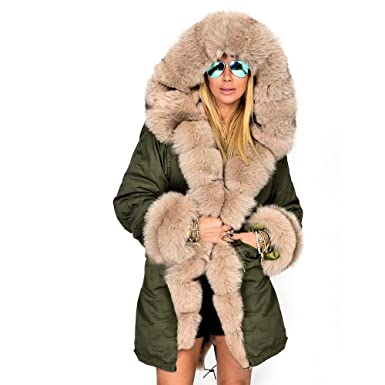 519fcc164d Manka Vesa Women s Winter Thicken Faux Fur Hooded Plus Size Camo Parka  Jacket Coat