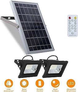 """Solar Flood Lights Outdoor Dusk to Dawn Remote Solar Lights 10W 6V 13.6""""x 9.3"""" Solar Panels Lights with 800LM Dual 5.1""""x 3.9"""" 64 LED Flood Lights for Street,Flag Pole,Shed,Barn Lights"""