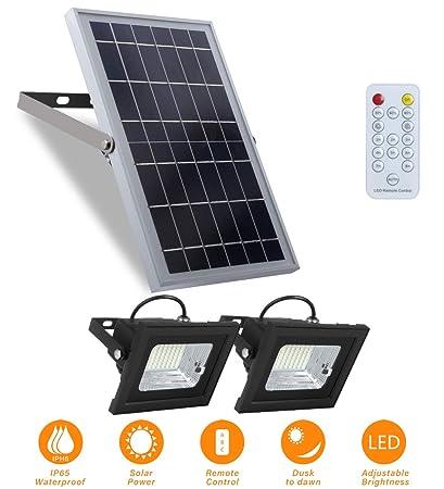 Solar Flood Lights Outdoor Dusk to Dawn Remote Solar Lights 10W 6V 13.6 x 9.3 Solar Panels Lights with 800LM Dual 5.1 x 3.9 64 LED Flood Lights for Street,Flag Pole,Shed,Barn Lights