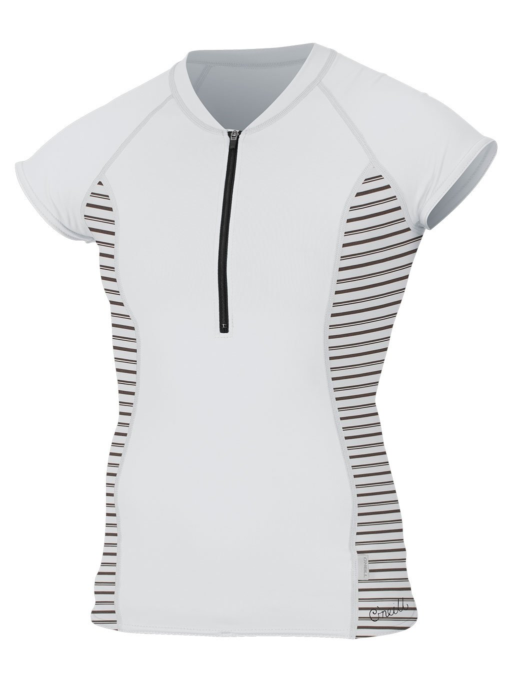 O'Neill Women's Cap Sleeve Sun Shirt Front Zip White/Highway Stripe Small