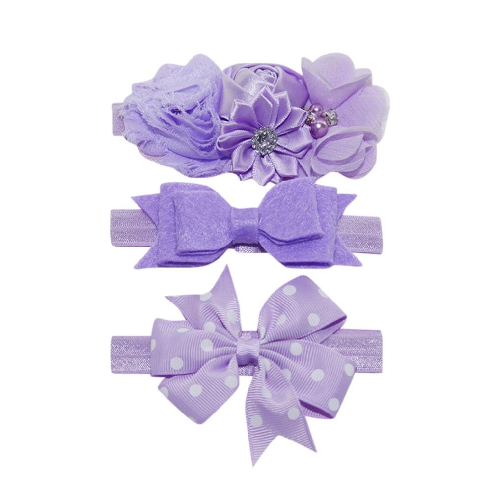 Lurryly 2018 Baby Girls'3-Pack Kids Elastic Floral Headband Hair Princess Accessories Bowknot Hairband Set (0-5 Years, Light Purple) by Lurryly (Image #1)