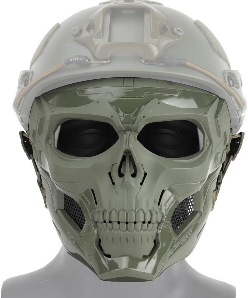Tactical Skull Military Airsoft Masque Complet avec Protection en Maille pour Masques Jeux de Guerre CS Convient /à la Chasse Sportive /à la f/ête