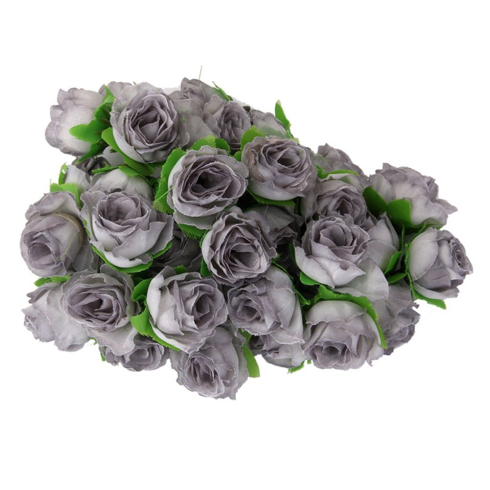 ROSENICE-50pcs-Rose-Flower-Head-Wedding-Party-Decoration-Artificial-Flower-Grey