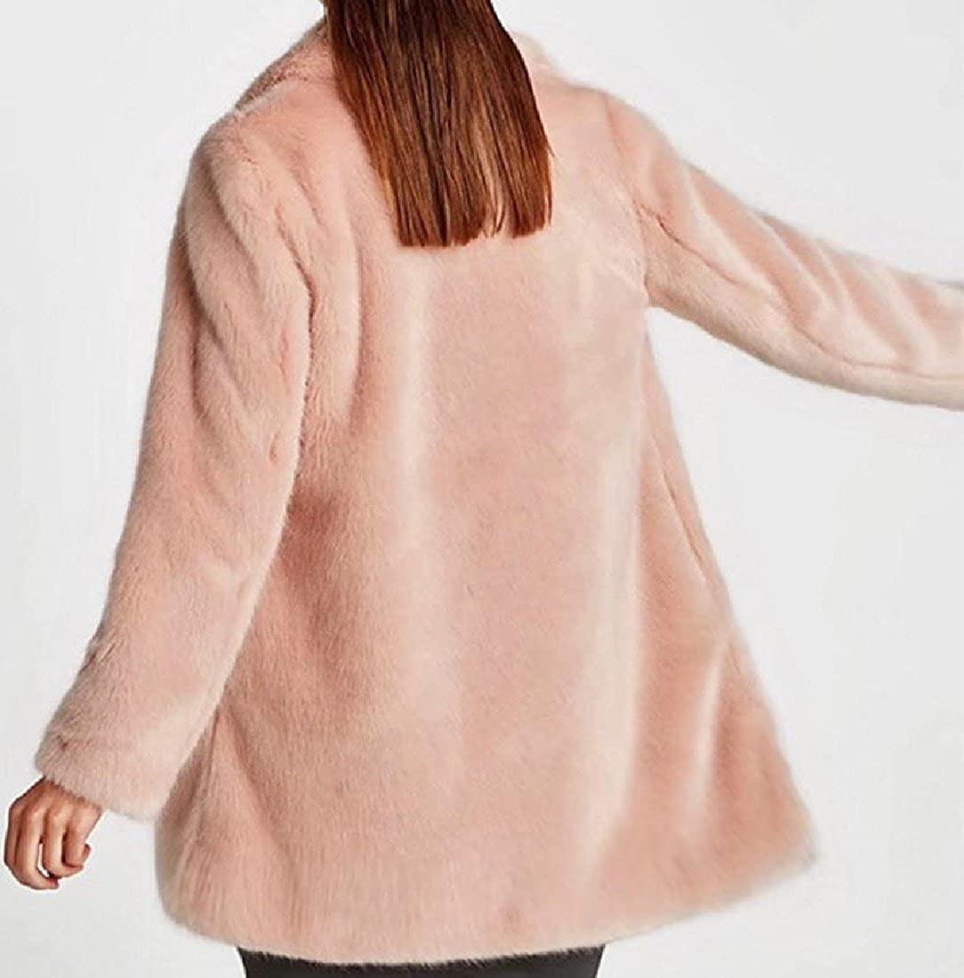 Colourful Womens Mid-long Solid Golilla Faux Fur Pink Novelty Overcoat Outwear