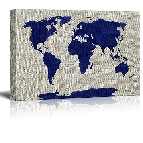 Wll Art Blue Worldmap on Burlap Feeling Background and