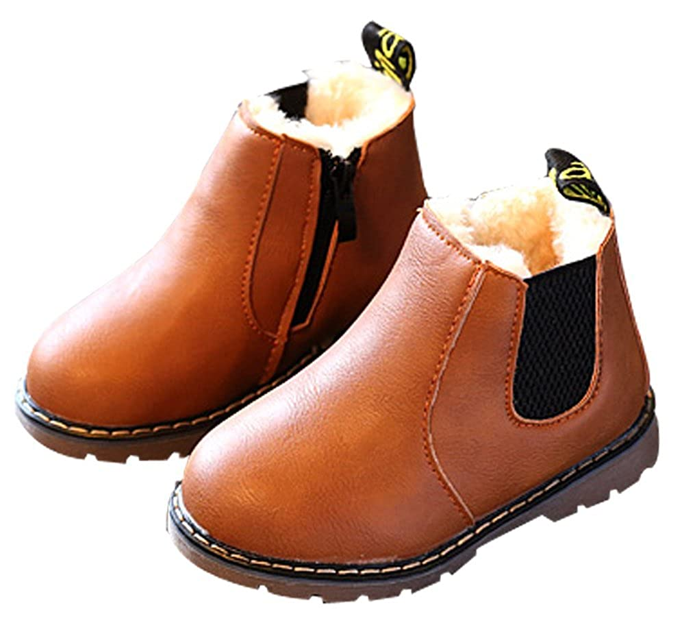 Cattior Toddler Little Kid Fur Lined Warm Kids Snow Boots Winter Boots