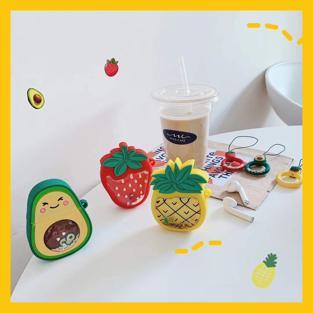 Cute 3D Funny Cartoon Soft Silicone Cover Avocado Kawaii Fun Cool Keychain Design Skin SevenPanda Fruits Airpod Case para Apple Airpods 1 y 2 Fashion Color Cases for Girls Kids Boys Air pods