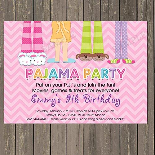 Pajama Party Sleepover Birthday Party Invitation in Pink Chevron, Pj Party Invitation, Slumber Party Invitation