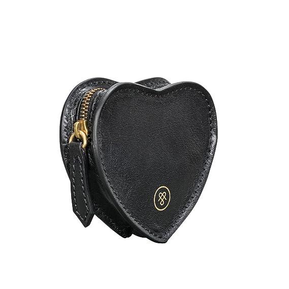 Maxwell Scott® Elegante Monedero Negro en Piel Italiana con Forma de corazón, Cierre Cremallera (Mirabella): Amazon.es: Equipaje