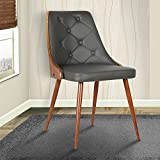 Armen Living LCLLSIWAGRAY Lily Dining Chair in Grey Faux Leather and Walnut Wood Finish Review