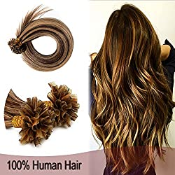 "Remy Pre Bonded Fusion Hair Extensions Human Hair Highlight 100 Strands Keratin Nail U Tip Hair 22"" 50g Straight Silky #4/27 Medium Brown Highlighted with Dark Blonde"