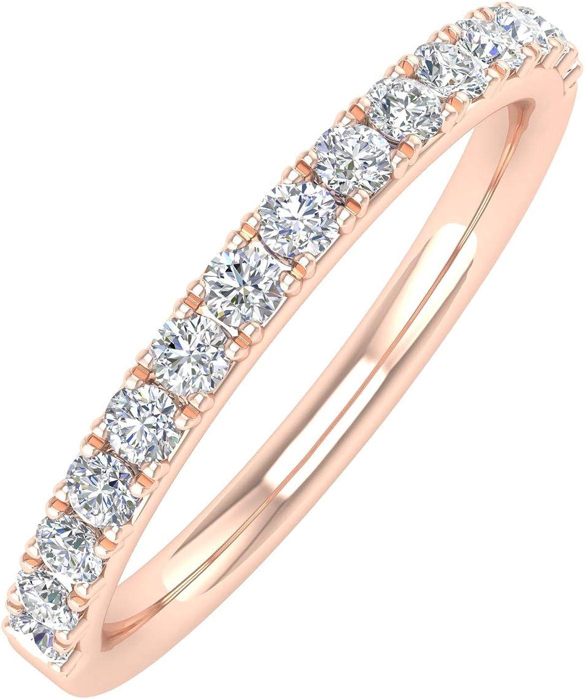 1//3 Carat Diamond Semi-Eternity Wedding Band Ring in 10K Gold