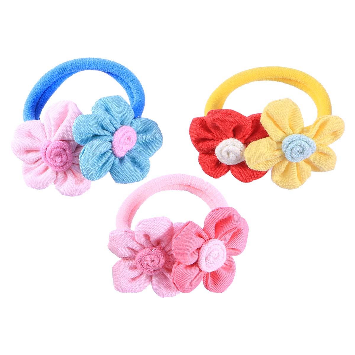 Frcolor 3pcs legami di capelli floreali belli capelli ricci coda di cavallo pigtail titolare legami elastici in gomma per le ragazze